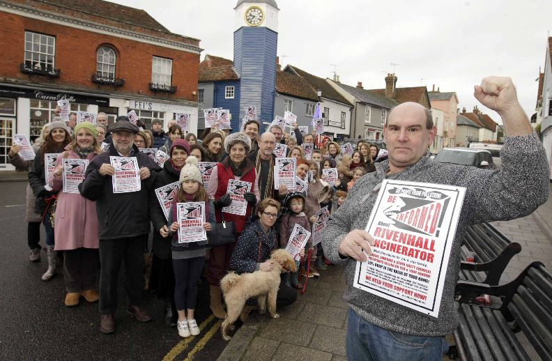 Incinerator campaigners: Nick Unsworth with residents