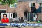 Scene - Fred Payne (top right) died in his flat in Rochdale Way, Colchester, after Lisa Connelly set a fire (bottom left)