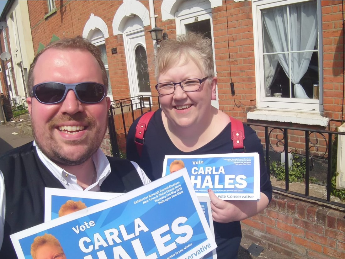 Canvassing - Carla Hales and Darius Laws on the campaign trail in Colchester this week. Picture from @CarlaEllenHales