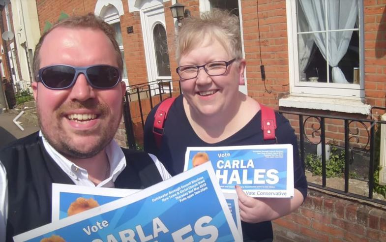 Shock - Carla Hales with Conservative group leader Darius Laws campaigning recently