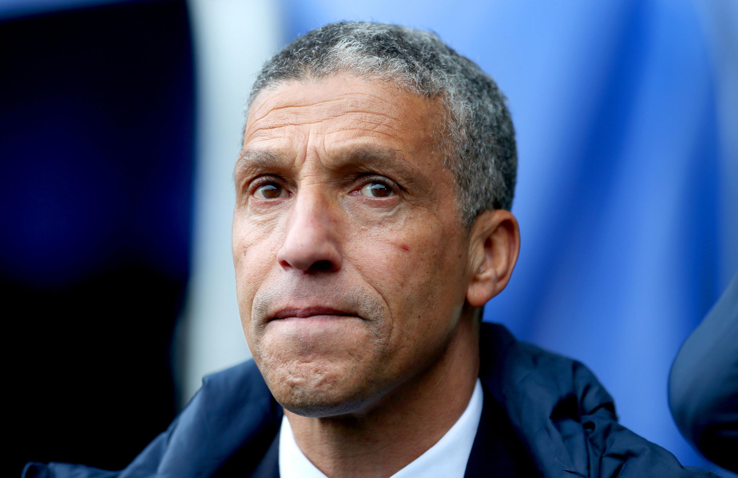 Chris Hughton before his final match in charge against Manchester City