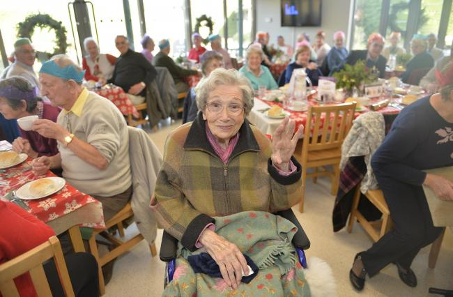 Pioneer - Beth Chatto pictured hosting a lunch for the elderly people of Elmstead Market months before she passed away