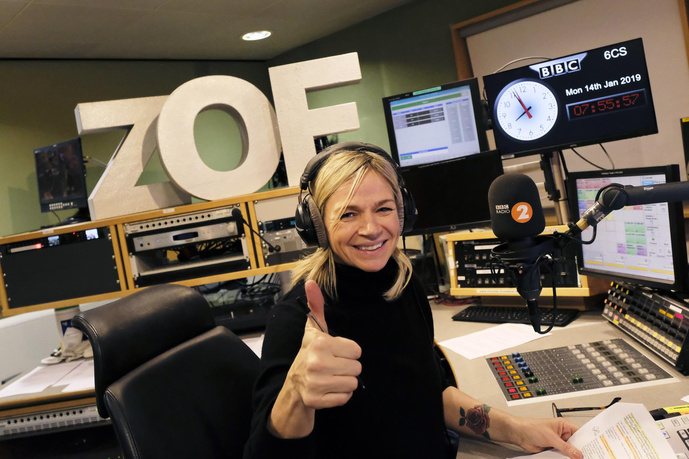 Zoe Ball on first day hosting BBC 2 Breakfast Show – London
