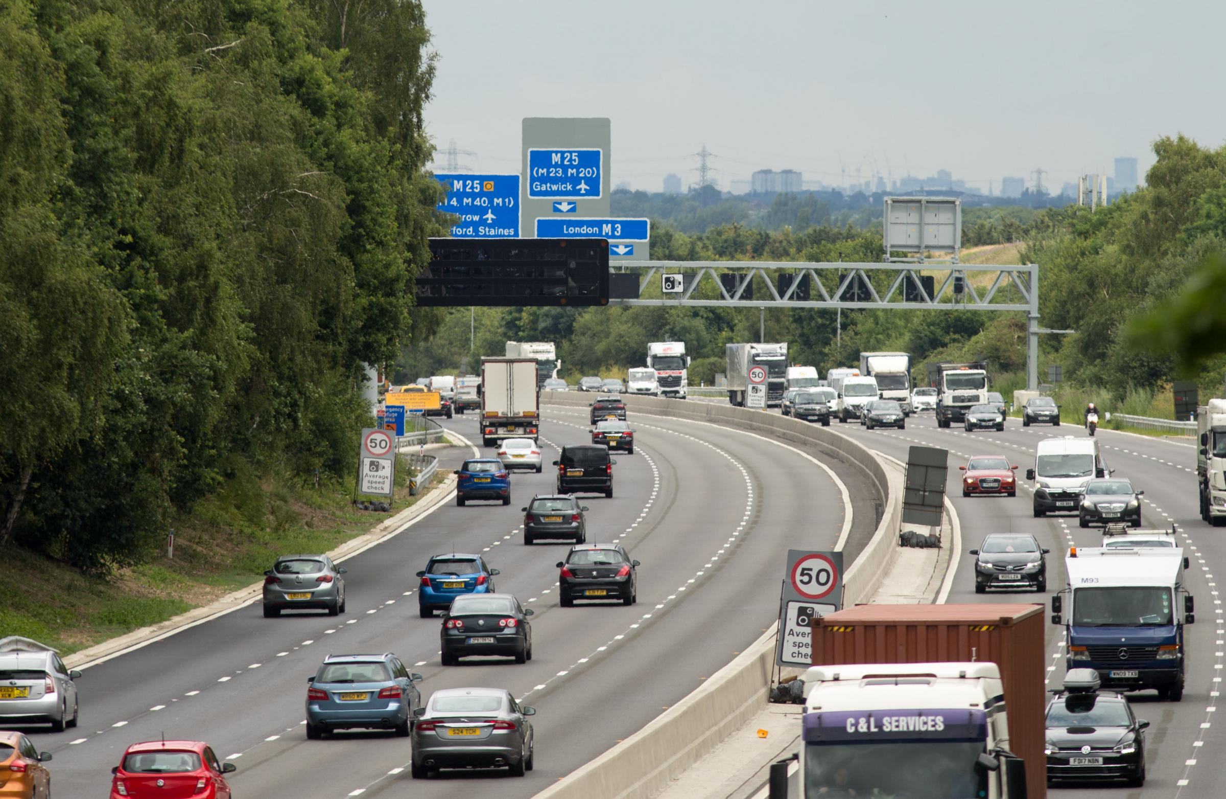 File photo dated 04/07/17 of vehicles on the M3 smart motorway near Longcross, Surrey. Motorists who drive in closed lanes on smart motorways will soon be liable for an automatic ??100 fine and three penalty points. PRESS ASSOCIATION Photo. Issue date: T