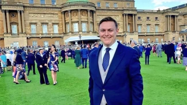 Smiles - Will Quince at the Queen's garden party