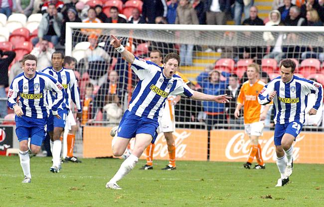 Flashback - Greg Halford celebrates scoring a winner for Colchester United during his U's heyday. Picture: Rob Sambrook