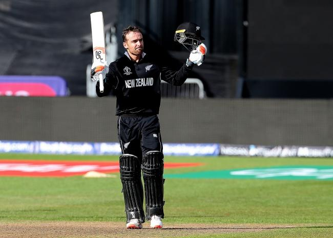 Century man - former Colchester and East Essex wicket-keeper Tom Blundell celebrates his ton for New Zealand against West Indies Picture: TOM KERTON/PA WIRE